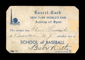 Babe Ruth Signed Autographed 1939 World's Fair Laurel Card - Full JSA