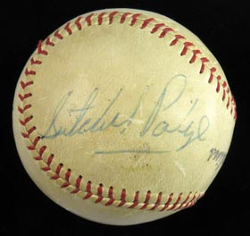 Satchel Paige 1958 Single Signed Miami Marlins Ball - Huge Signature!