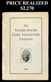 Original 1939 The United States Card Collectors Catalog by Jefferson R. Burdick with Supplements