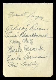 1939 Philadelphia Athletics Multi-Signed Album Page With Harry O'Neill - Full JSA