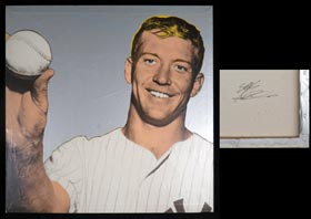 Mickey Mantle Original Painting by Steve Kaufman - From Mantle's Personal Collection and Signed by Kaufman