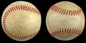 Ty Cobb and Honus Wagner Dual-Signed Ball With Amazing Provenance - Full PSA/DNA