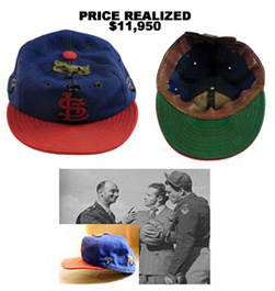 Billy Southworth St. Louis Cardinals Cap From 1942 World Series and 25 World War II Successful Bombing Missions by Billy Southworth, Jr.