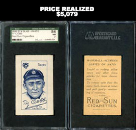 Incredible 1909 S74 Silks-White Ty Cobb SGC 84 NM 7 with Red Sun Advertising Back--Highest Graded Known from Set!