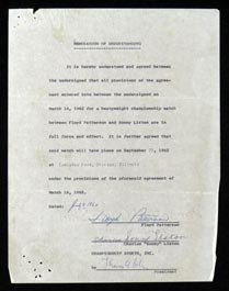 1962 Floyd Patterson vs. Sonny Liston Heavyweight Championship Signed Contract and Related Documents From the Patterson Family