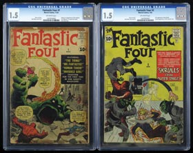 1961-1962 Fantastic Four #1-#5 Original Series First (5) Issue Run�All CGC Graded