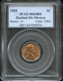 "1955 Lincoln Cent Double Die Obverse ""Full Red"" Coin Graded PCGS MS64RD"
