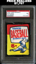 1957 Topps Baseball Series 2 Unopened Wax Pack PSA NM 7 - Mickey Mantle Series