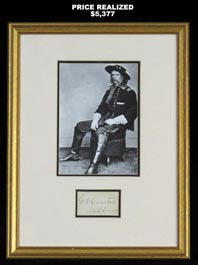 George Armstrong Custer Autographed with Brevet Major General Uniform Photo
