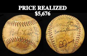 1931 New York Yankees Team Signed Ball (17 Signatures) Including Ruth and Gehrig