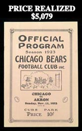 Rare and Exceptional 1923 NFL Chicago Bears vs. Akron Pros Game Program