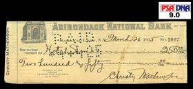 Christy Mathewson 1925 Signed Personal Check From Braves Spring Training Just Months Before His Death - PSA MINT 9