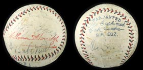 1930s Multi-Signed Autograph Baseball With Babe Ruth, Lefty Grove and Moe Berg - Full PSA/DNA