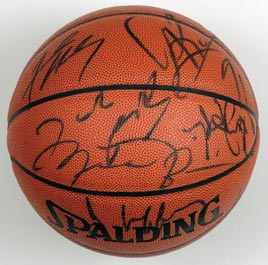 1995-96 NBA Champion Chicago Bulls Team-Signed Autographed Basketball With Michael Jordan, Scottie Pippen, Phil Jackson and Full JSA