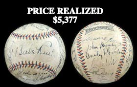 1932 Yankees/Red Sox Multi-Signed Autographed Baseball With Babe Ruth, Lou Gehrig and Full PSA/DNA - Beautiful!