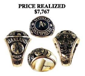 Dick Green 1974 Oakland Athletics Championship Ring - World Series MVP!