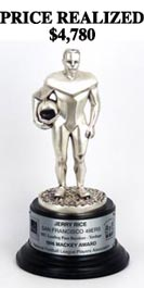 Jerry Rice's 1996 Mackey Award Trophy