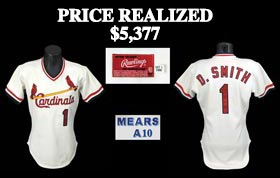Ozzie Smith 1986 Game-Worn St. Louis Cardinals Home Jersey - MEARS A10