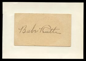 Babe Ruth Signed Business Card With Full JSA - Gorgeous!