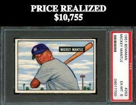 1951 Bowman Baseball #253 Mickey Mantle Rookie--PSA EX-MT 6