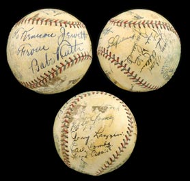 1932-1933 New York Yankees Team-Signed Autograph Baseball With Babe Ruth, Lou Gehrig and (5) Other HOFers - Spectacular!