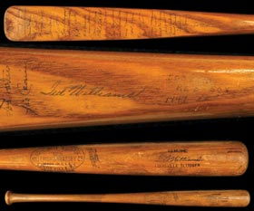 Ted Williams 1947 Louisville Slugger Game Used Half-Bat - Signed by 1947 Red Sox Team (30 Signatures)