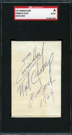 1964 Cassius Clay Dated Signature Cut--SGC Authentic