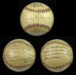 "Historic Christy Mathewson Single-Signed Ball - From Matty's Famous 1921 Polo Grounds ""Testimonial"" Fundraiser"