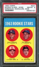 1963 Topps Baseball #537 Pete Rose Rookie PSA NM-MT 8