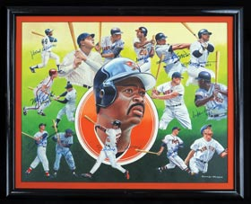 George Wright Original Oil Painting Signed by (11) members of the 500 HR Club With Hank Aaron, Willie Mays & Ted Williams - Full JSA