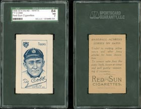 S74 Silk Baseball Ty Cobb with Red Sun Back SGC 84 NM 7
