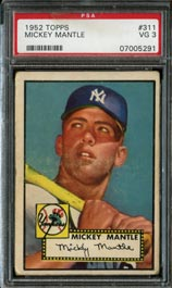 1952 Topps Baseball #311 Mickey Mantle Rookie High Number PSA VG 3