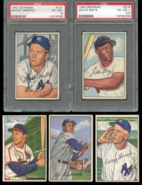 1952 Bowman Baseball Complete Set (252/252) with (2) PSA Graded Stars Including PSA EX-MT 6 Mantle
