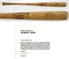 Mickey Mantle 1961-1963 Game Baseball Bat Given to Bob Cerv