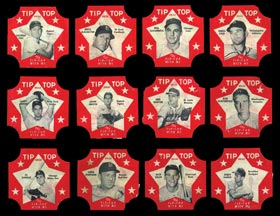 1952 Tip-Top Bread Labels Starter Set of (12) Different with (2) Hall of Famers