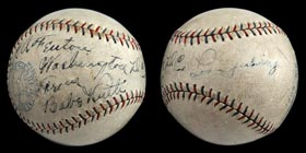 1928 Babe Ruth/Lou Gehrig Signed Baseball - Full JSA