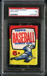 1957 Topps Baseball Unopened Five-Cent Wax Pack PSA NM 7