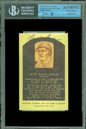 Rare Goose Goslin Front Signed Autographed Yellow Hall of Fame Baseball Plaque Card