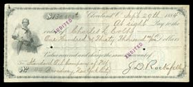 Rare 1884 John D. Rockefeller Sr. Signed Check in the Amount of $130,000--Full JSA