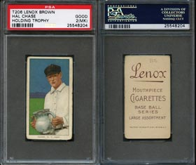 Near Impossible 1909-11 T206 White Borders Hal Chase (Holding Trophy) with Brown Lenox Advertising Back PSA Good 2 (mk)—Only Graded by PSA or SGC