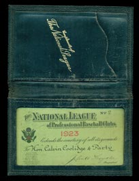 President Calvin Coolidge's Personal 1923 National League Season Pass - The Earliest Known Presidential Pass