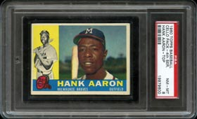 Stunning 1960 Topps Baseball Series 4 Cello Pack with Aaron Front--PSA NM-MT 8