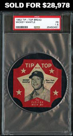 1952 Tip-Top Bread Label Mickey Mantle PSA Fair 1.5--Only Four Graded