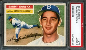 1956 Topps Baseball #79 Sandy Koufax (White Back) PSA Mint 9
