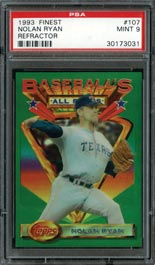 1993 Topps Finest Refractor #107 Nolan Ryan All-Stars - PSA Mint 9