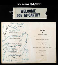 1931 Joe McCarthy Dinner Program with (23) Exceptional Signatures including Bennett, Dickey, Gehrig, Gomez, Lazzeri, McCarthy, Ruth - Full JSA