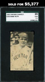 1921 E253 Oxford Confectionery Babe Ruth SGC 20 Fair 1.5