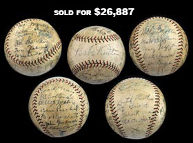 1927 New York Yankees World Champions Team Signed Ball (22 Signatures) with Ruth, Gehrig and Lazzeri