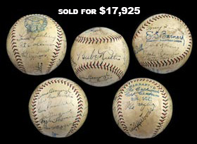 Exceptional 1928 New York Yankees World Champions Team Signed Ball (17 Signatures) with Ruth, Gehrig and Lazzeri