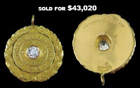 Phenomenal Eddie Plank 1910 Philadelphia Athletics World Champions Pendant - From the Plank Estate